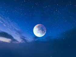 blue moon on starry sky night clouds  light background