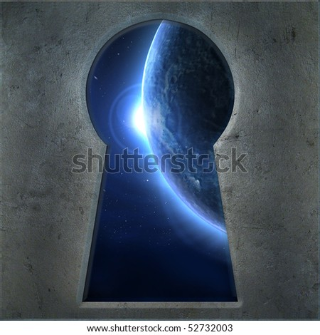 Blue Moon seen through the keyhole