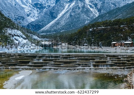 Blue Moon Valley, White Water River waterfall and Jade Dragon Snow Mountain, Lijiang, Yunnan China. #622437299