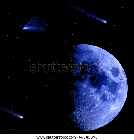 blue moon with shooting stars isolated on black background with twinkling stars