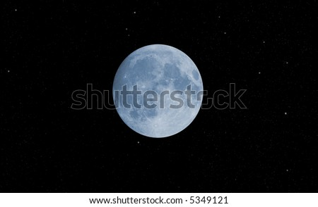 blue moon with stars against black background