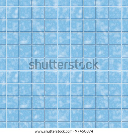 Blue mosaic tile seamless pattern - background for continuous replicate.