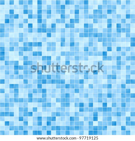 Blue mosaic tile seamless pattern - background for continuous replicate. - stock photo