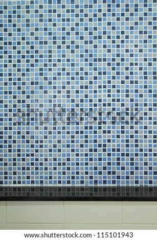 Blue mosaic tiles background  and counter