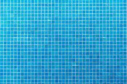 Blue mosaic tiles texture background.