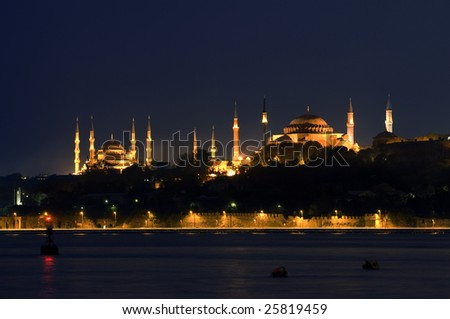 Blue Mosque and Hagia Sofia, Turkey/Istanbul - stock photo