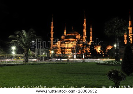 Blue Mosque by night, Istanbul, Turkey