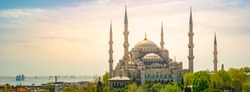 Blue mosque in glorius sunset, Istanbul, Sultanahmet park. The biggest mosque in Istanbul of Sultan Ahmed Ottoman Empire .