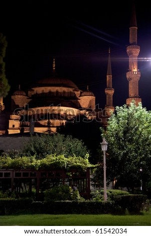 Blue mosque in Istanbul, Turkey - night view