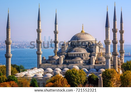 Blue Mosque (Sultanahmet Camii), Bosporus and asian side skyline, Istanbul, Turkey #721552321