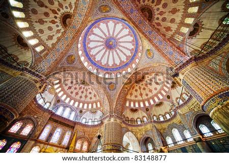 Blue Mosque ( Turkish: Sultan Ahmet Cami) interior architecture in Istanbul, Turkey