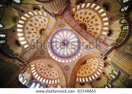 Blue Mosque (Turkish: Sultan Ahmet Cami) ornate interior ceiling in Istanbul, Turkey