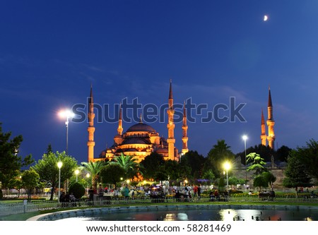 Blue Mosque with moon - Istanbul