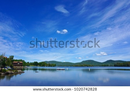 blue mountain lake  in the...
