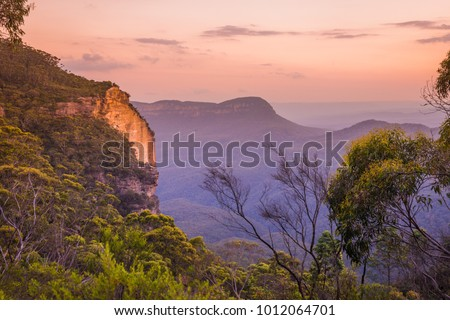 Blue Mountains Australian sunset landscape in Katoomba, New South Wales #1012064701
