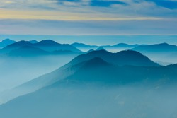 Blue mountains with fog