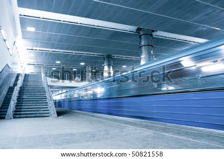 blue moving train with staircase #50821558