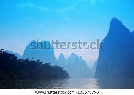 Blue Mt - Karst mountains at Li river near Yangshuo, Guangxi province, China