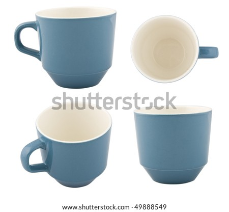 Blue mug from different angles