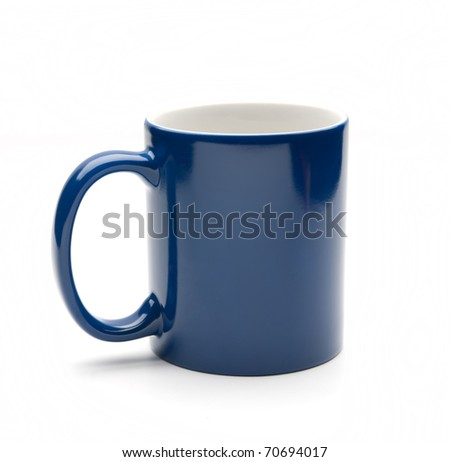 blue mug on a white background - stock photo