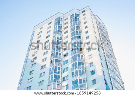 blue multi-storey house, new building Сток-фото ©