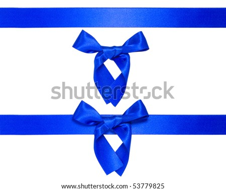 blue multiple ribbons with bow isolated on white