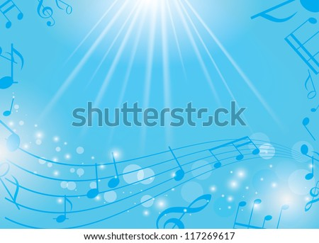 blue musical background with notes and rays