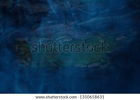 blue mystical fog at night covered a fantastic pine trunk background for Halloween mysticism concept