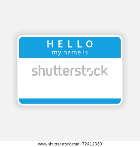 Blue name tag blank sticker with shadow on gray background. Bitmap copy my vector ID: 52643383