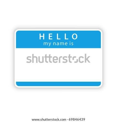 Blue name tag sticker with shadow on white. Bitmap copy my vector ID: 50107471