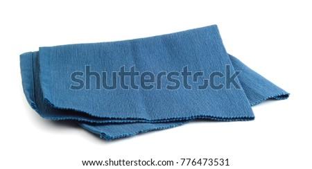 Blue napkin isolated on white background