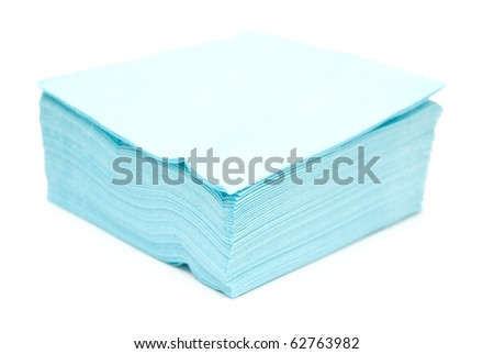 blue napkins isolated on white background - stock photo