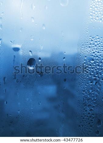 blue natural water drop texture - stock photo