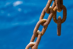 blue nautical backgrounds and rusty metal chain