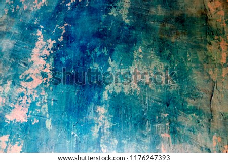Blue Navy Blue Dark Abstract Background Grunge Decorative Stucco Wall of Art Rough. Texture Banner With Space Text. #1176247393