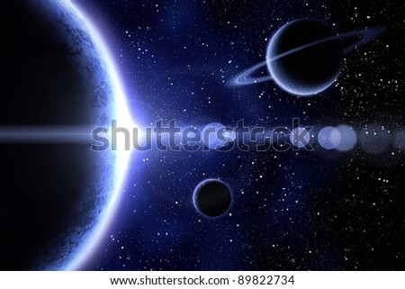 Blue nebula and three planet on the foreground