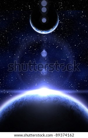 Blue nebula and two planet on the foreground