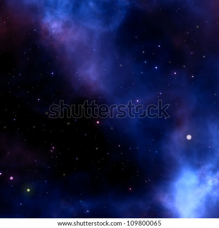 blue nebula sky with stars