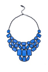 blue necklace on white background