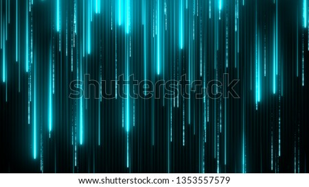 Blue neon technology background. Abstract application code moving in a cyberspace. Data flow texture. Script running on a screen. HUD concept. Bright beams falling down.