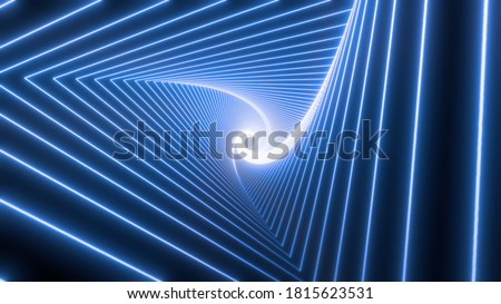 Blue neon triangular tunnel moving into the distance, neon geometric background, abstract 3D background with spectral metal glow, long tunnel Сток-фото ©
