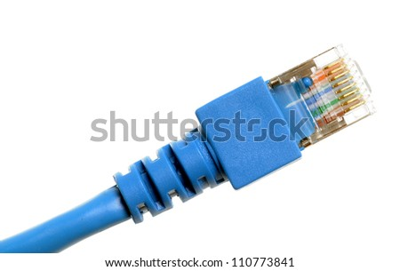 Blue network cable isolated on white