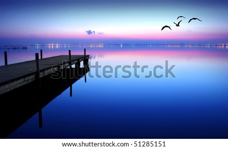 blue night at sea - stock photo