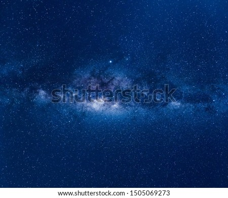 Blue night sky with milky way, stars field and galaxies, from Australia in August. #1505069273