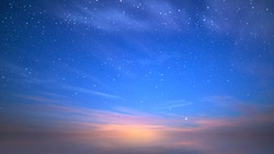 blue night starry sky and pink sunset on sky summer nature background