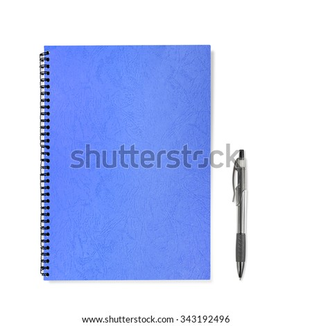blue Note Book with pen on white background