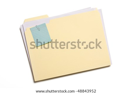 Blue note clipped on a file folder isolated on white background.