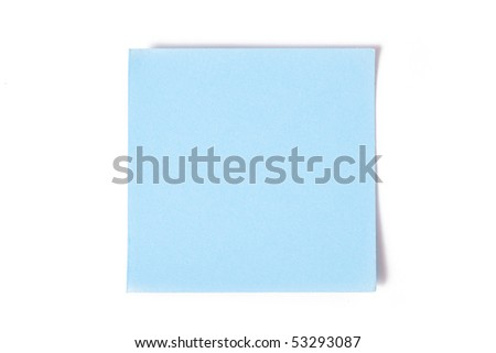 blue note paper on white background
