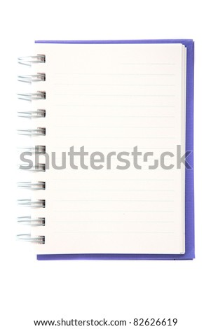 Blue notebook isolated in white background