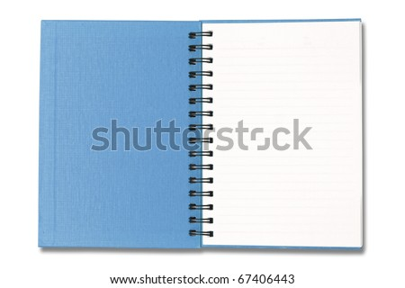 Blue Notebook open on white background